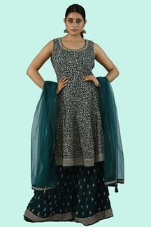 Picture of Elegant Rama Green Colored Party Wear Embroidered Palazzo Suit