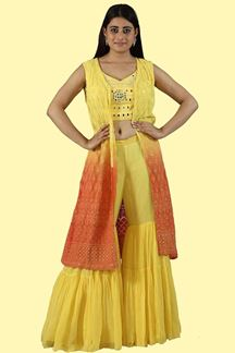 Picture of Yellow Color Crop Top &Gharara Suit with Jacket