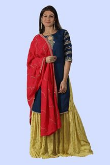 Picture of Mustard Yellow & Navy Blue Gharara Suit