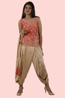 Picture of Peach & Gold Dhoti Style Suit with Short Top