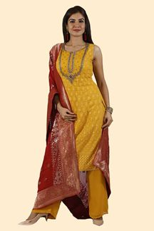 Picture of Mustard Yellow Colored Long Top & Palazzo Suit