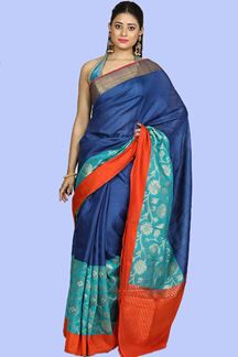 Picture of Flaunt Royal Blue- Orange Colored Bangalore Silk Saree