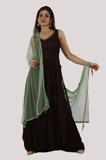 Picture of Wine Color Long Top Palazzo Suit