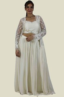 Picture of Cream Color Mirror Work Jacket Style Palazzo Suit