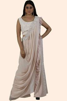 Picture of Peach Colored Crop Top Suit With Palazzo