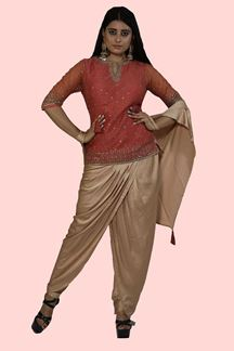 Picture of Dhoti Style Peach & Golden Designer Suit