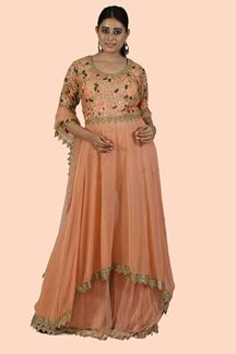 Picture of Peach color Gharara Style Suit