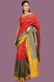 Picture of Beautiful Maroon- Mustard Color Weaving Banglore Silk Saree