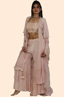 Picture of Peach Colored  Jacket Style Gharara Suit with Dupatta