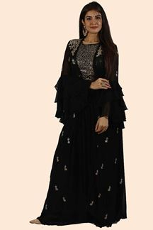 Picture of Black Color Crop Top Palazzo Suit with Jacket