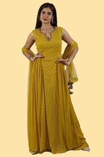 Picture of Mustard Yellow Color Palazzo Suit With Long Top