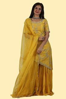 Picture of Yellow Color Gharara Style suit