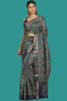 Picture of Smashing Rama Green & Navy Blue Colored Banglore Silk Saree