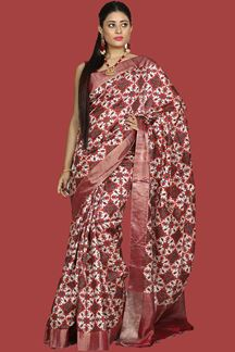 Picture of lovely Maroon-Cream Colored Banglore Silk Saree