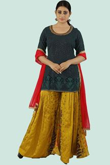 Picture of Mustard Color Palazzo With Short Kurti Top