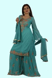 Picture of Dazzle Firozi Blue Georgette Gharara Suit