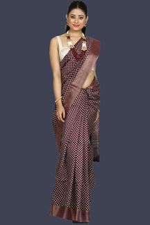 Picture of Innovative Dark Burgundy Colored Banglore Silk Saree