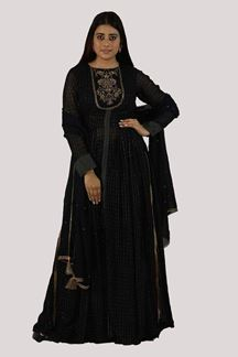 Picture of Navy Blue Colored Palazzo Suit With Long Top