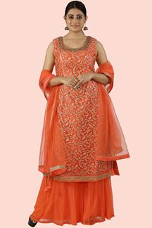 Picture of Orange Color Short Top Palazzo Suit