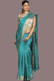 Picture of Jazzy Rama Blue Colored Banglore Silk Saree