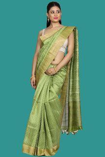 Picture of Mehendi Green Banglore Silk Printed Saree