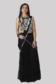 Picture of Black Color Saree Style Palazzo Suit