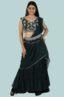 Picture of Dark Rama Green Crop Top Gharara Suit