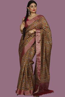 Picture of Trendy Mustard Yellow Colored Bangalore Silk Saree