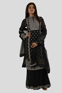 Picture of Black Color Gharara Style Suit
