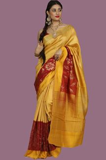 Picture of Engrossing Mustard Yellow Colored Banglore  Silk Saree