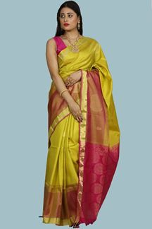 Picture of Glorious Green & Rani Pink Colored Banglore Soft Silk Saree