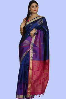 Picture of Arresting Navy Blue & Rani  Colored Banglore Silk Saree