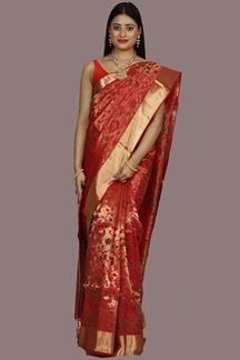 Picture of Gorgeous Maroon Colored Banglore Tissue Silk Saree