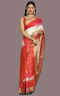 Picture of Hypnotic Cream-Orange Colored Bangalore Silk Saree
