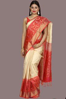 Picture of Royalty In Beige-Orange Banglore Silk Saree