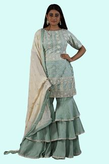Picture of Sea Green Satin Lucknowi Work Gharara Suit