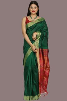 Picture of Flaunt Bottle Green & Maroon Banglore Silk Saree