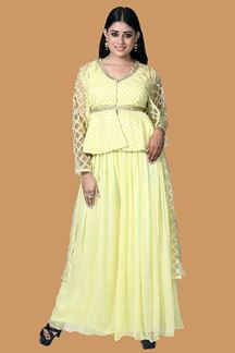 Picture of Lemon Yellow Peplum Style Palazzo Suit