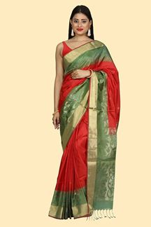 Picture of Ravishing Maroon- Olive Green Colored Banglore Silk Saree