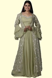 Picture of Pista Green Color Jacket Style Palazzo Suit