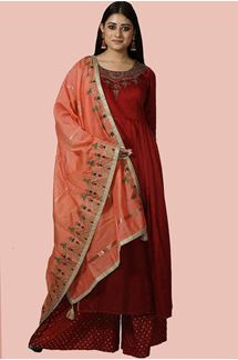 Picture of Maroon Color Palazzo Designer Suit