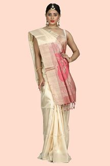 Picture of Trendy Cream & Onion Pink Colored Bangalore Silk Saree