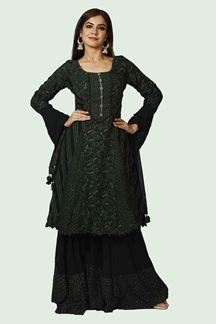 Picture of Bottle Green  Georgette Palazzo Suit