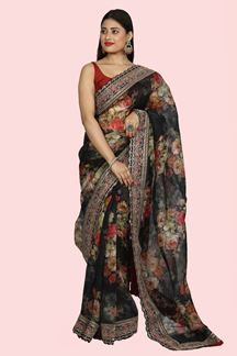 Picture of Glowing Black Colored Partywear Digital Printed Organza Saree