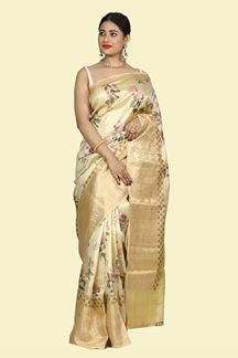Picture of Flaunt Cream Colored Floral Printed Bangalore Silk Saree