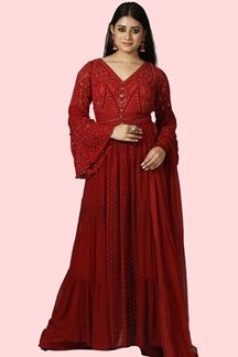 Picture of Maroon Color Palazzo Style Suit