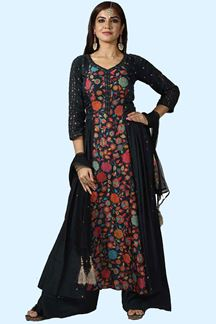 Picture of Navy Blue Resham & Sequins Work Palazzo Suit