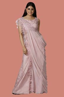Picture of Onion Pink Color Palazzo Style Crop Top Suit
