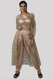 Picture of Golden Color Satin Silk Crop Top with Dhoti Pant