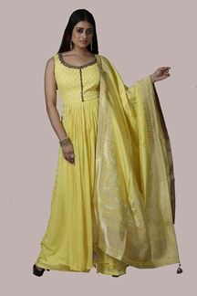 Picture of Lemon Yellow Georgette Palazzo Suit